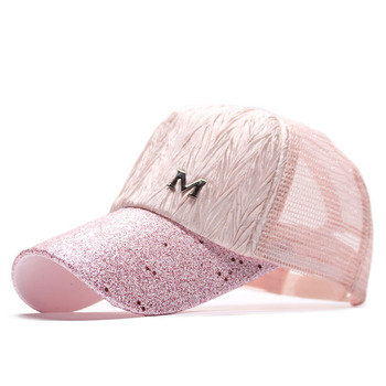 Fashion Baseball Cap Women Glitter Sequins Letter Cap Summer Breathable Mesh Snapback Hats Solid Color Girls Female Sun Hat men women summer quick dry baseball cap solid color hollow out leisure mesh breathable adjustable sunshade outdoor sun hat