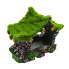 Aquarium Ornament Hollow Moss Resin House Fish Hideout Hideaway for Betta Turtle Dropshipping