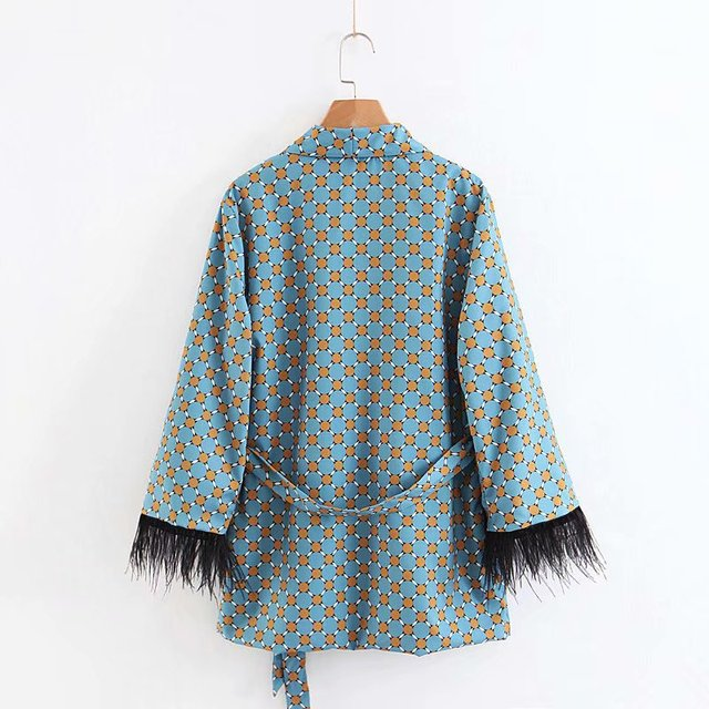 Women's suits 2021 New Arrival Blue Printed Kimono Jacket with Feather Sleeves Wide Leg pants two-piece Vintage Clothing Suits 4