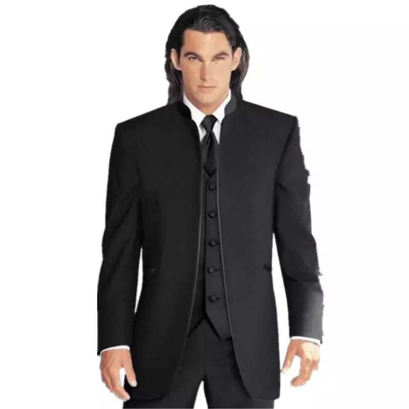 Custom Made Size And Color Groom Tuxedos Best Man Mandarin Lapel Groomsmen Men Wedding Suits (Jacket+Pants+Tie+Vest)