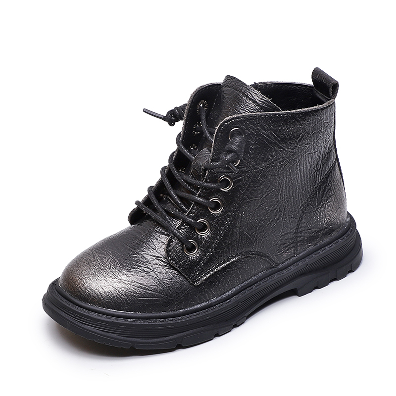 Boots Big Kid Boys Shoes Children Non-slip Martin Boots Fashion Girls Ankle Boots Genuine Leather Winter Solid Color SYL016