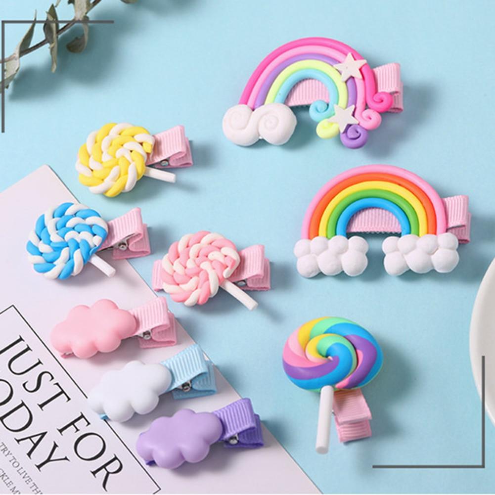 For Girls Gifts Cloud Mesh Hairpins Bow Hair Clip Rainbow Lollipop Headdress