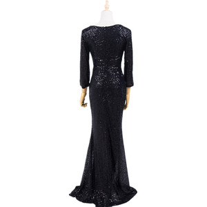 Image 2 - Plus Size Evening Host Long Dresses V Neck Zipper Simple Party Gown Soiree Sexy   Formal Dress MS 0079