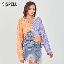 Женская блузка с v образным вырезом и длинным рукавом sispell