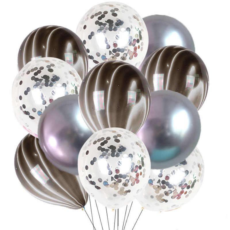 15 sztuk niebieskie balony agat lateksowe balony dekoracje ślubne metalowe balony helem urodziny dla dorosłych zabawki dla dzieci