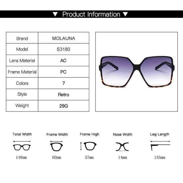 Vintage Oversize Square Sunglasses Women Luxury Brand Big Frame Women Sun Glasses Black Fashion Gradient Female Glasses Oculos 8