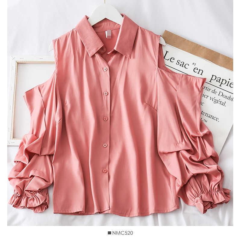 Блузка блузка женская осеннее платье 2019 корейская версия дизайн чувство французский маленький популярный полый длинный рукав рубашка