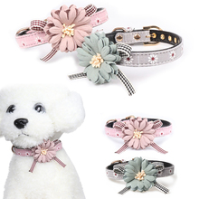 Pet Collar  High Grade Fabric Lovely Flower Bowknot Leather Dog Cat Bow tie Necklace Adjustable Products D40