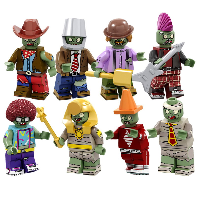 8Sets Plants Vs. Zombies Buckethead Dancing Conehead  Afro Explorer Pharaoh Cowboys Zombie Model Figure Blocks Toys For Children