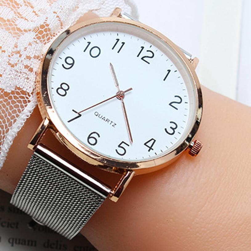 Fashion Women Watch Quartz Steel Mesh Band Simple Arabic Number Student Watches Ladies Clock Reloj Mujer