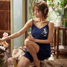 Pajama women's summer pure cotton sexy suspender home clothes pajamas Korean fresh simple sweet suit cotton summer pajamas