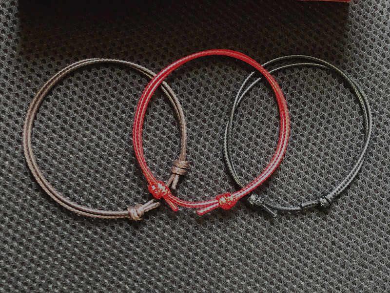 2 sztuk/zestaw nowe proste ręcznie obrączki regulowana lina szczęście bransoletka na kostkę biżuteria na stopy dla kobiet i mężczyzn para Anklets Chain