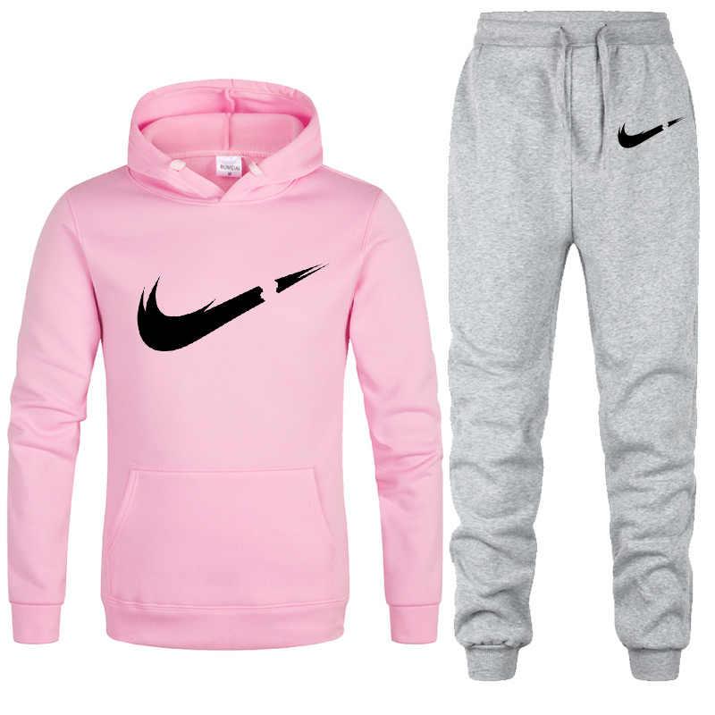 Neue Zwei Stücke Gesetzt Mode Mit Kapuze Sweatshirts SportswearwomanTracksuit Hoodie Herbst Marke Kleidung Hoodies + Hosen frau sets