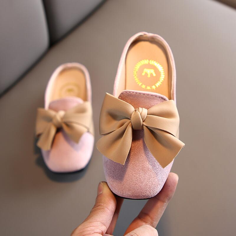 Girls Baotou half sandals Kids 2020 spring and summer new fashion princess bowknot sandals casual non-slip sandals and slippers