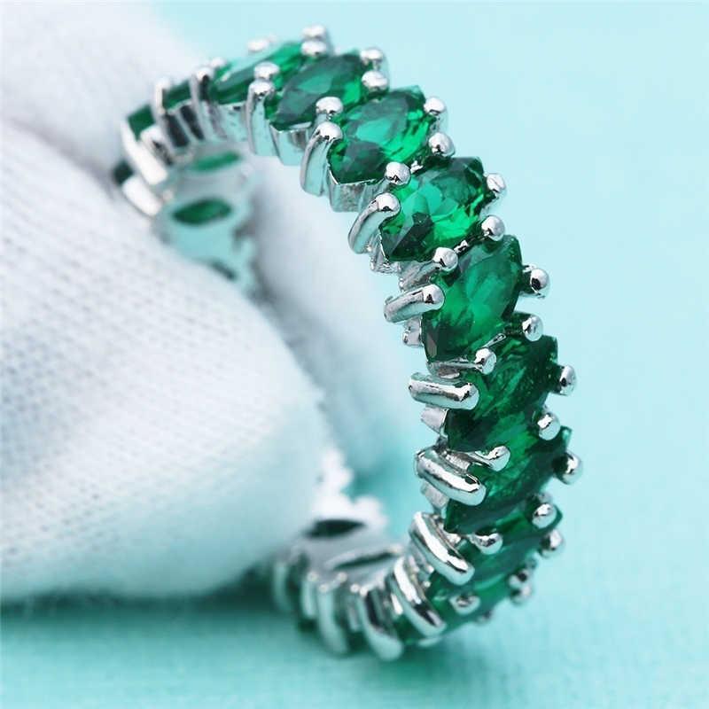925 Silver Warna Berlian Perhiasan Sapphire Cincin untuk Wanita Mewah Anillos Batu Permata Emerald Obsidian Berlian S925 Cincin Perhiasan