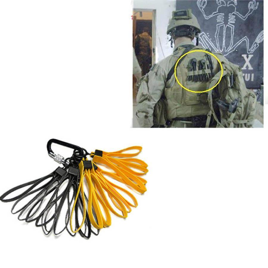 Tactical Plastic Cable Tie Strap Handcuffs CS Decorative Belt Yellow Black (1set/3pcs)