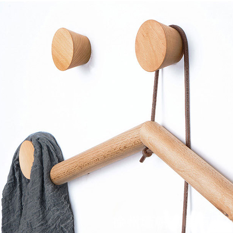 3PC 60/50mm Round Wood Hooks Clothes Coat Hooks Beech Black Walnut Wood Key Holder Wall Key Hanger Modern Home Decoration Rack