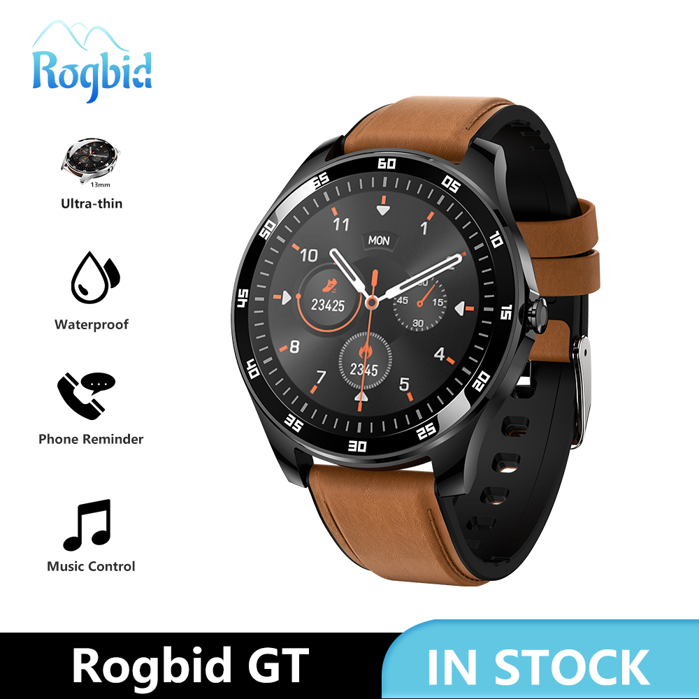 Rogbid GT Smart Watch men Full Touch Smartwatch Waterproof Heart Rate BP PPG Sleep Monitor Smart Clock For Android IOS 4G Phone