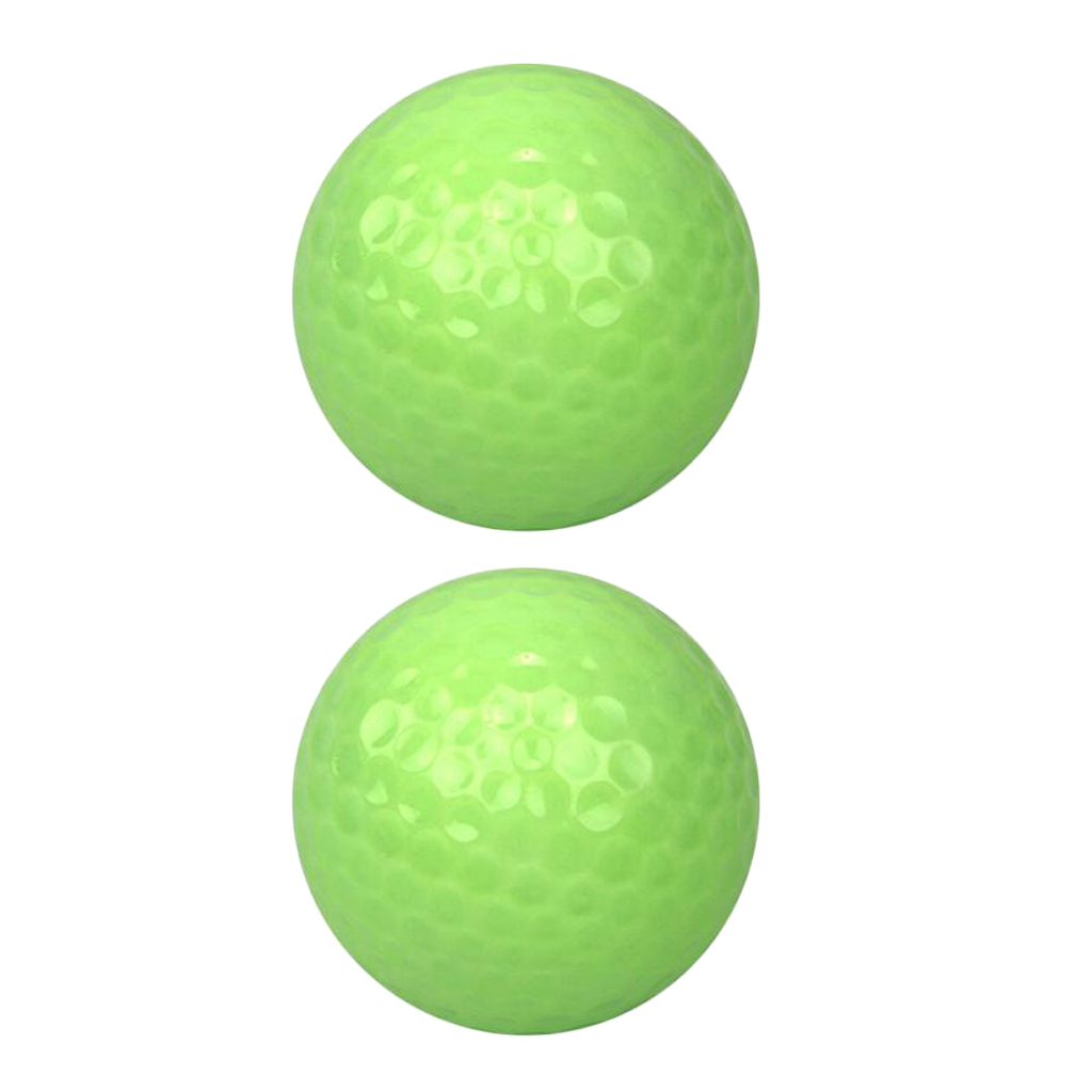 2Pcs Green Fluorescence Luminous Golf Balls Night Light Glowing Golf Balls