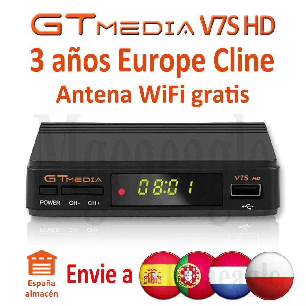 Fhd 1080P Gtmedia V7S Hd Cccam Cline Satelliet Tv Ontvanger Gratis 3 Jaar Europa Cline Spanje Upgrated Freesat V7 hd Tv Decoder
