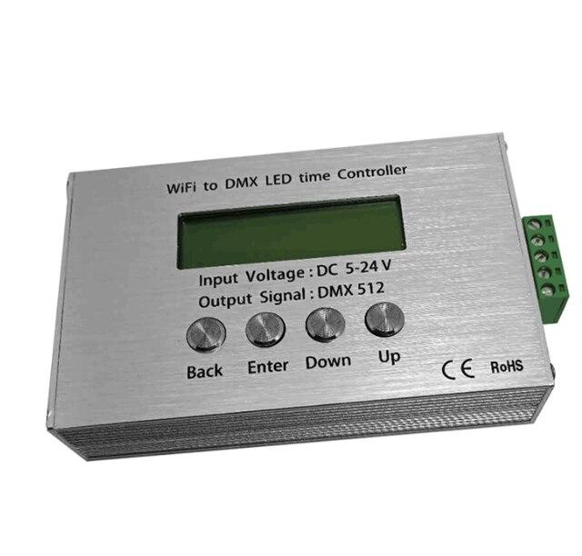 DC5-24V WIF الوقت للبرمجة RGB LED تحكم واي فاي إلى DMX جهاز ضبط الوقت الجهد المنخفض يعتم التبديل تحكم ، لشريط Led