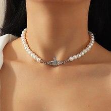 Blijery elegante imitação de pérola planeta gargantilha colar para mulher collier festa de casamento colar moda jóias presente