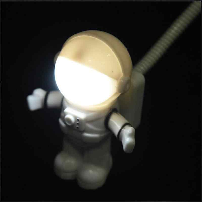 לבן גמיש Spaceman אסטרונאוט USB צינור LED לילה אור מנורה למחשב נייד מחשב נייד קריאת נייד DC 5V creative