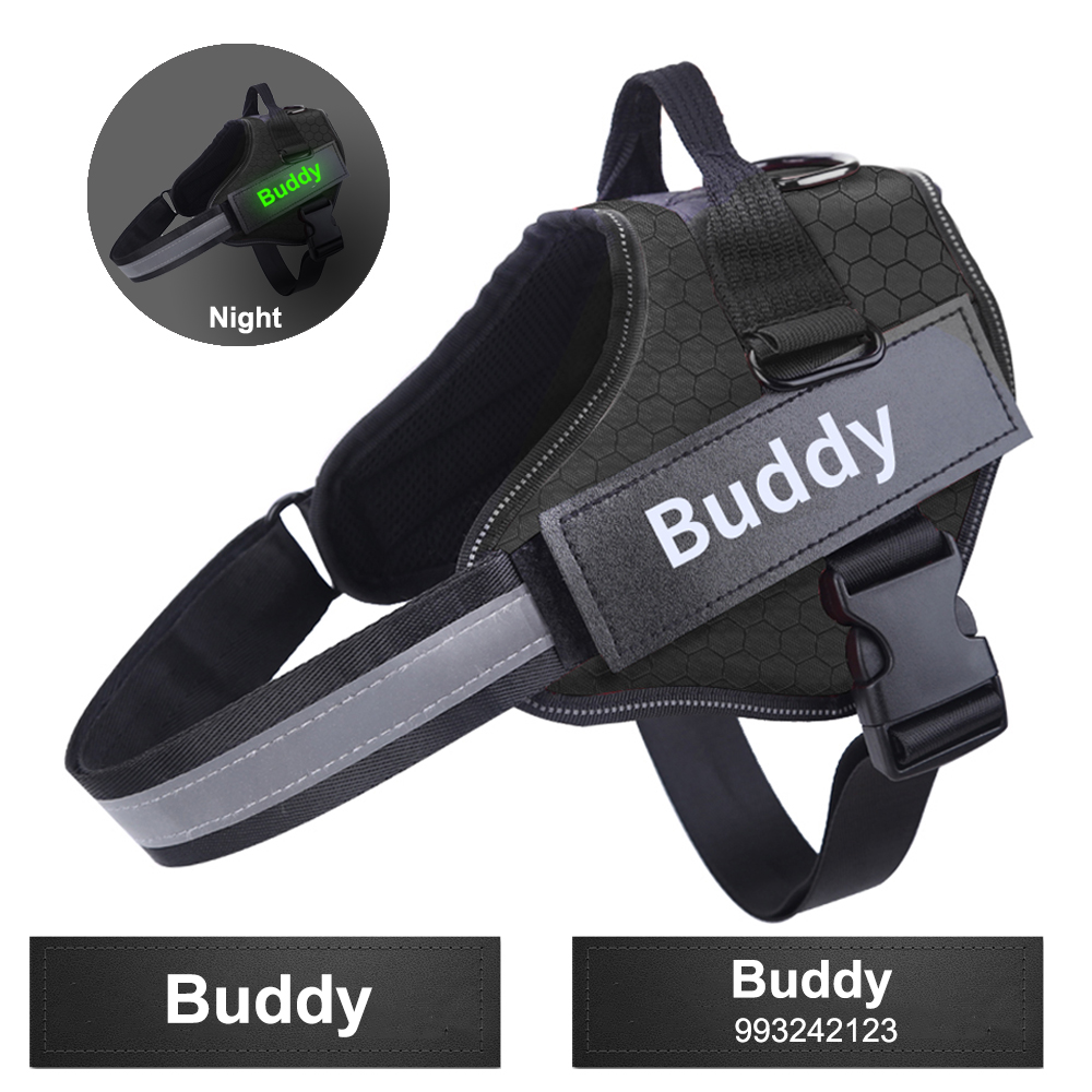 Customized Dog Harness Personalized Reflective Breathable Pet Harness Vest With Fluorescence Name ID Custom For Dogs Supplies|Harnesses| - AliExpress