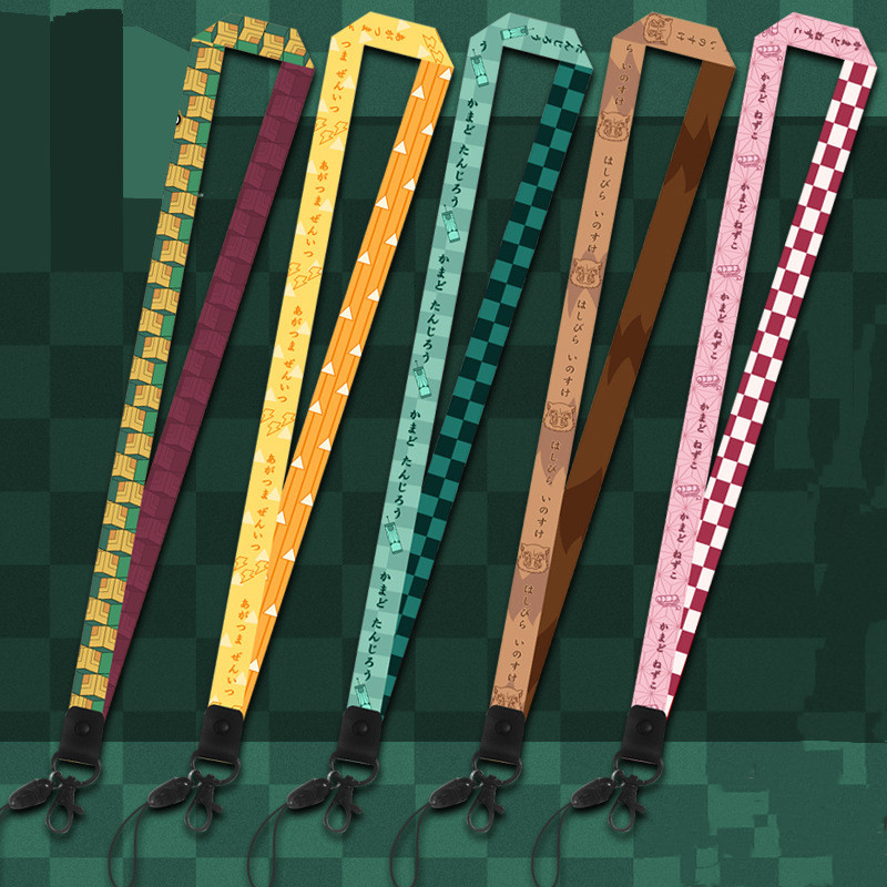 Аниме брелоки со шнурком Demon Slayer Kimetsu No Yaiba Blade of Ghost, винтажные брелоки для женщин и девочек, ювелирные изделия для косплея, подарок