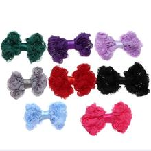 20pcslot 7cm Cute Hair Bows Chiffon Flower Material DIY Girls Kids Hair Accessory Without Clips Handmade For Baby Headbands