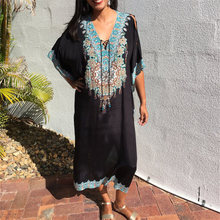 2020 Quick drying Black Indie Folk Embroidered Long Summer Beach Dress Moroccan Kaftan Plus Size Women Beachwear Maxi Dress N910
