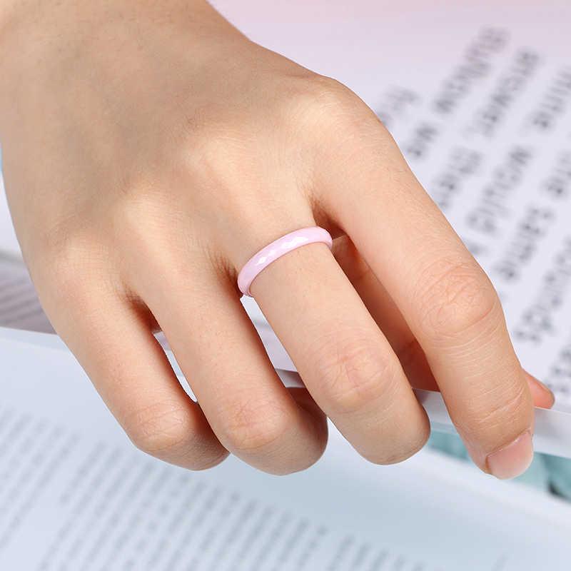 3mm jasnoróżowy czarny biały pierścień ceramiczny dla kobiet nowoczesny obrączka biżuteria wyciąć powierzchnię zdrowe pierścienie