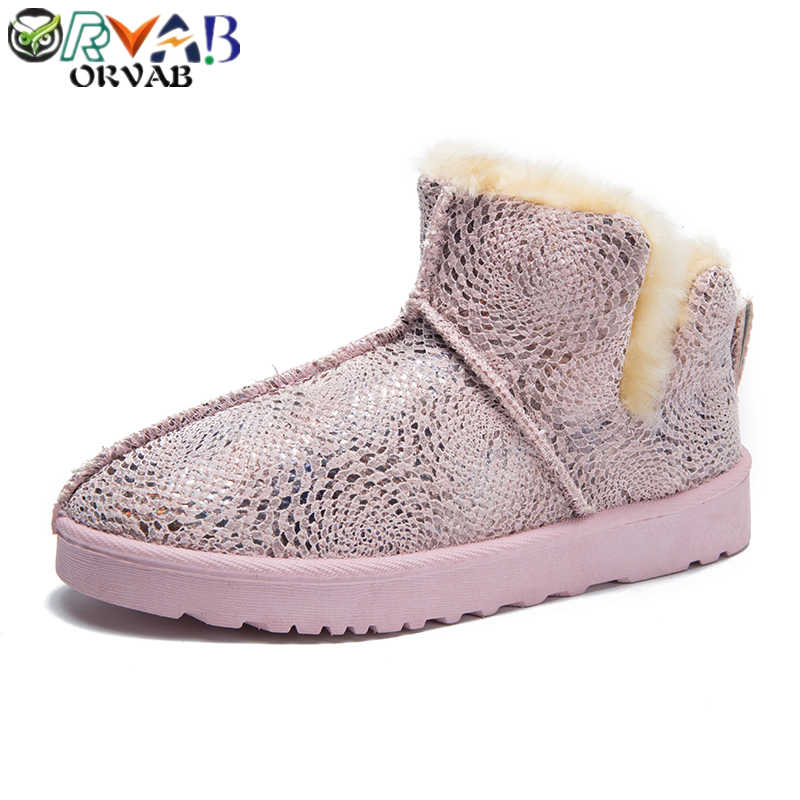 Mắt cá chân Giày cho Nữ Mùa Đông Siêu Ấm Giày Nữ Đen Xám Hồng Thời Trang Phụ Nữ 2019 Trơn Bling da lộn Ủng Giày