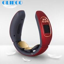 OLIECO электромагнитный массажер для шеи портативный USB Перезаряжаемый прибор для массажа шейки матки английский голос 4 режима Светильник Мода
