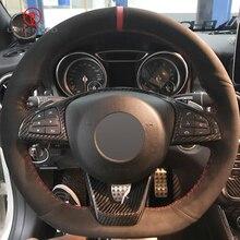 LQTENLEO Schwarz Wildleder DIY Auto Lenkrad Abdeckung für Mercedes Benz C200 C250 C300 B250 B260 A200 A250 Sport CLA220 CLS400 E200d