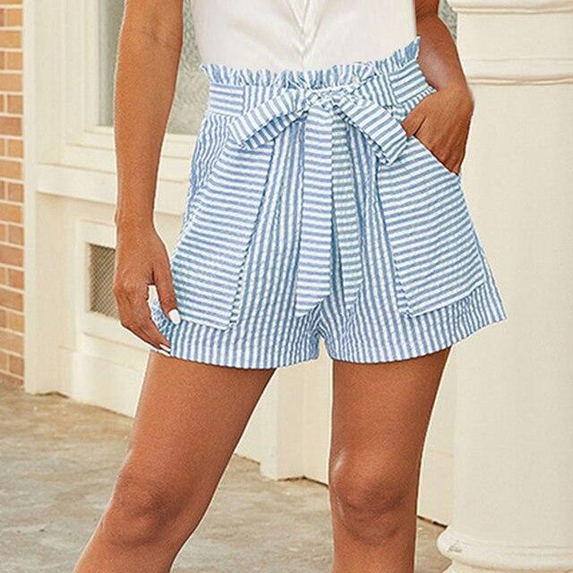 2021 Summer Stripe Women Shorts Pocket Lacing High Waist Pants Leisure Fashion Female Bandage Short Pants Beachwear 1