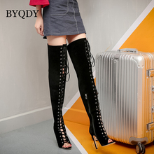BYQDY Sexy Women Lace Up Thin High Boots Cut-Outs Gladiator Shoes Over Knee Clubwear Boots Women Spring Autumn Shoes Size 35-40 2018 newest fashion sexy party summer women boots high heels cut outs back lace up blue leahter shoes woman knee high boots