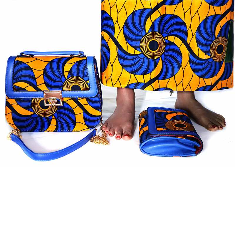 high quality african wax bag set 3 pieces/set soft wax fabric and cotton wax 6yards matching handbag for dress-in Fabric from Home & Garden    1