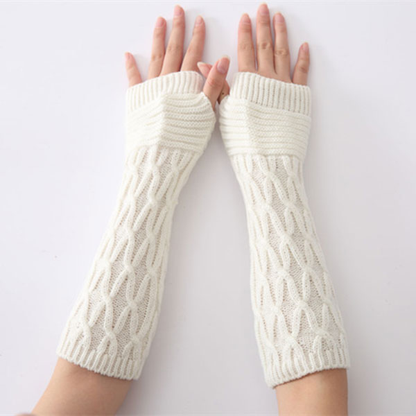 Women Arm Warmer Winter Long Gloves Fashion Fingerless Gloves Solid Color Knitted Mittens JL