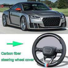 цена на High Quality Car Non-slip black carbon fiber leather car steering wheel cover for Audi TT