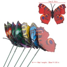7CM Colorful Fairy Butterfly On Stick Ornament Home Garden Vase Lawn Art Craft Decor for Home decoration