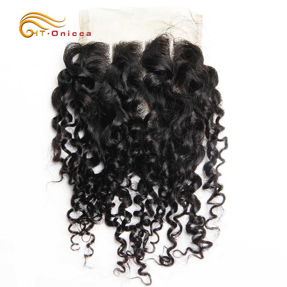 Pissy/Pixie Locken Menschliche Haar Mit Schließung Lockige Bundles 6Pcs Mit Verschluss Doppel Gezogen Brasilianische Menschliches Remy Haar in 12-18 Inch