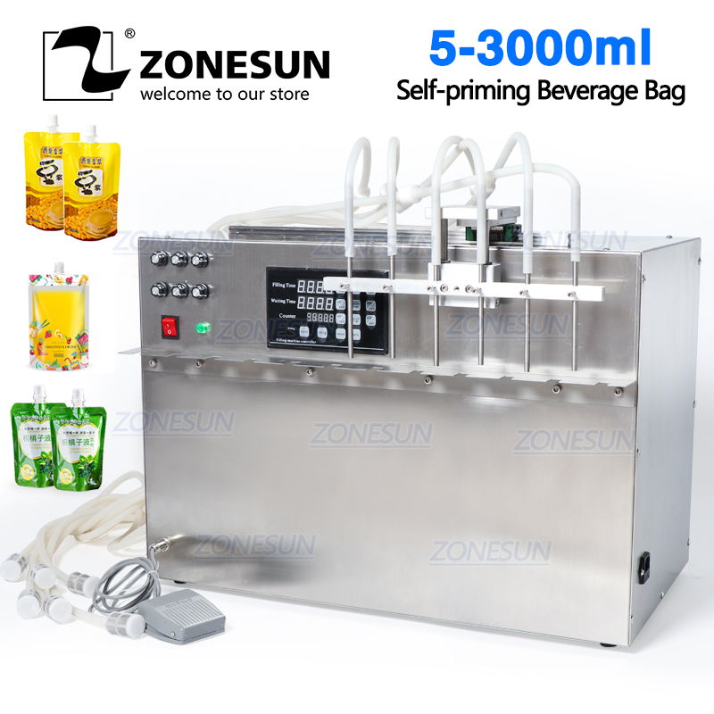 ZONESUN 6 Heads Self-priming Beverage Bag Liquid Filling Machine Digital Control Compact Precise Numerical Filling Machine