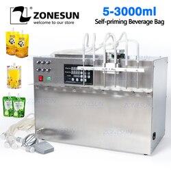 ZONESUN 6 Köpfe selbstansaugende Getränke Tasche Flüssigkeit Füll Maschine Digital Control Compact Präzise Numerische Füllung Maschine