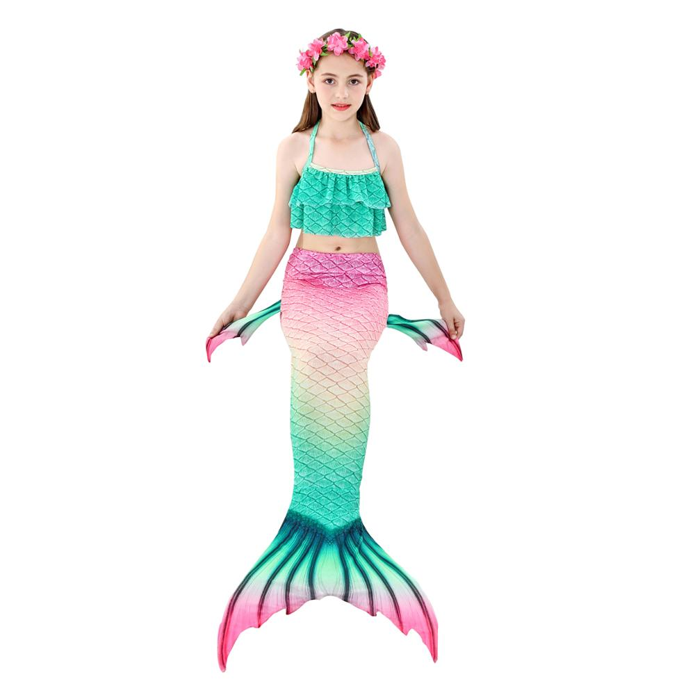 Image 4 - Swimmable Children Mermaid Tails With Monofin Fin Bikinis Set Girls Kids Swimsuit Mermaid Tail Cosplay Costume for Girl SwimmingGirls Costumes   -