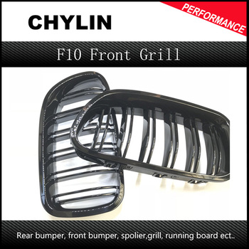 For BMW F10 5 Series 520i 523i 525i 530i 535i 2010-2014 Glossy Black Dual Slat M5 Style Front Kidney Grille Grill Wholesale D10 image
