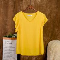 Mode Marke kurzarm frauen bluse Sommer Neue Chiffon hemd Sheer V-ausschnitt Casual bluse Übergroßen Lose Weibliche Tops