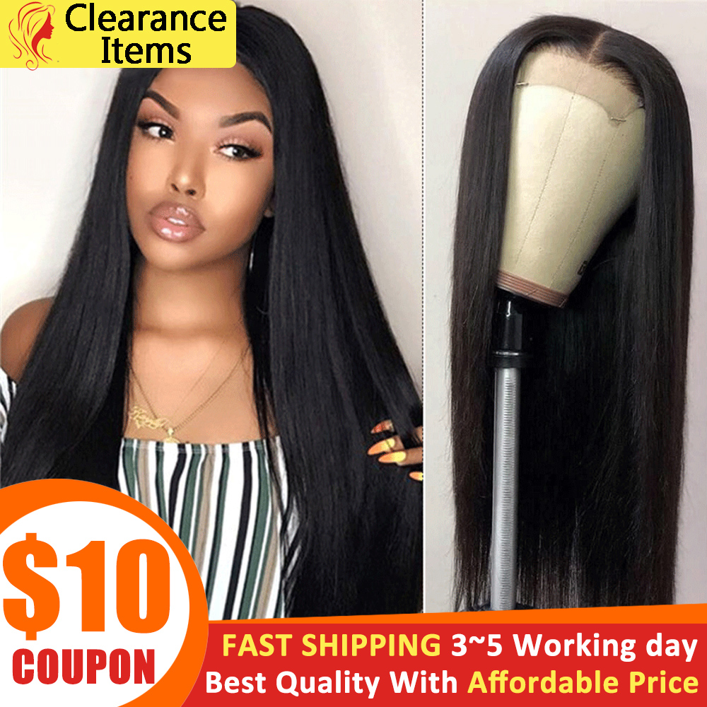 Beauty Lumina Hair Straight Lace Closure Wig 4x4 Lace Closure Wig 150% Density Peruvian Straight Human Hair Wigs For Women Black