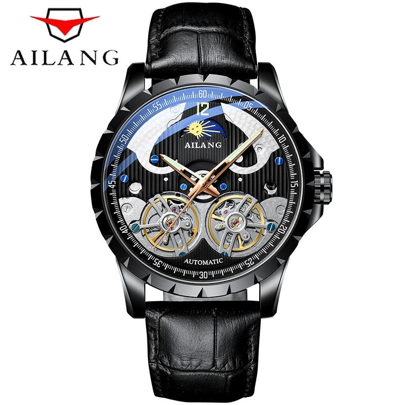 Men Watch Mechanical Tourbillon Moon phase Luxury Fashion Brand Leather Male Sport Watches Men Automatic Watch Relogio Masculino