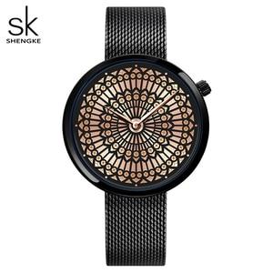 Image 1 - Shengke高級ブランド腕時計女性のファッションドレスクォーツウォッチレディーメッシュストラップ防水時計レロジオfeminino